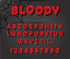 Halloween blood font. Abc bright red liquid letters and numbers.
