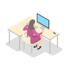 School girl working on the computer isometric