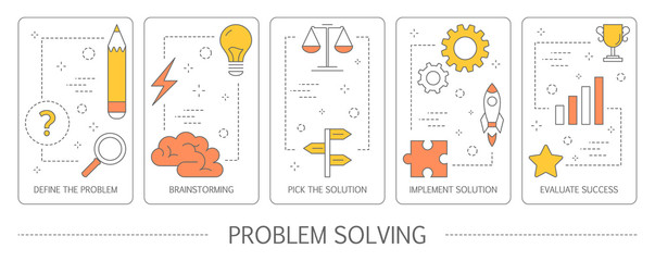 Set of problem solving abstract vertical banners