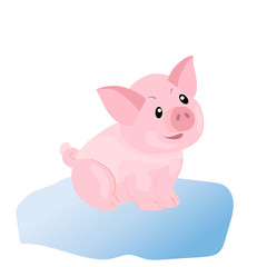 Cute pig funny piggie cartoon style, vector illustration
