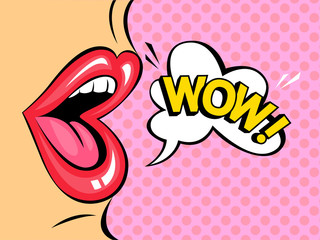 Red lips with speech bubble saying wow