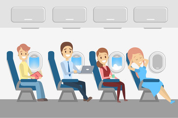 Passengers in plane. Aircraft interior with people