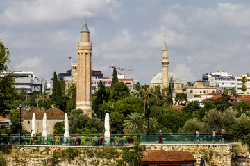 View of the mosque in the old town of Kaleici in Antalya .