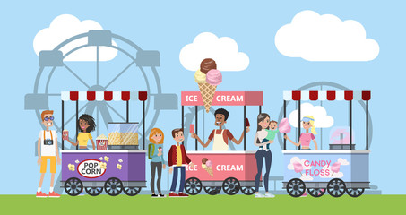 Amusement park with pop corn, ice cream and cotton candy