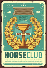 Horse racing club poster with laurel wreath