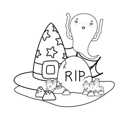 outline ghost and with hat with rip stone