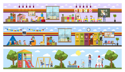 Kindergarten or nursery building interior with children