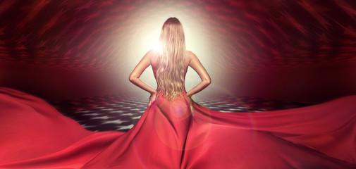 Blonde lady in red elegant maxi dress.