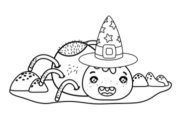 outline happy spider character with witch hat