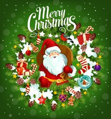Merry Christmas holiday poster with Santa Claus
