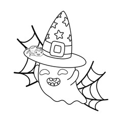outline happy ghost with witch hat and spiderweb