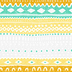 Seamless ethnic striped pattern. Chaotic lines with a pencil. Grunge vintage texture. Tribal and aztec motifs. Yellow, white, gray, blue and mustard colors. Vector illustration.