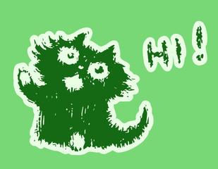 Cute fur friendly cat says hi. Vector illustration.