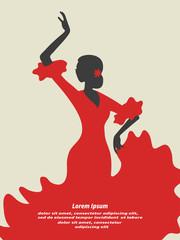Flamenco dancer vector illustration. Spanish girl.