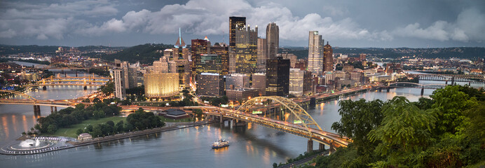 Pittsburgh city downtown skyline landscape view over the Monongahela and Allegheny River