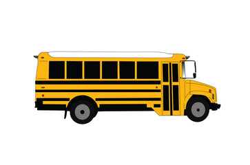 School bus isolated on white vector illustration.