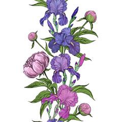 beautiful flowers of iris and peony seamless border