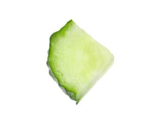 Slice of fresh cucumber on white background