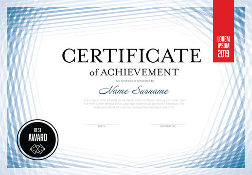 Certificate Layout with Repeating Blue Lines