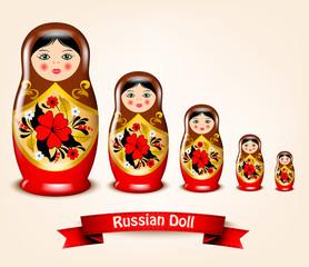 Matryoshka doll with the flower ornament. Russian Souvenir. Vector illustration