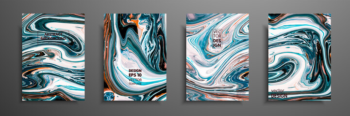 Fototapete - Covers with acrylic liquid textures. Colorful abstract composition. Modern artwork. Vector illustrations with mixed blue, green and white color. Applicable for design placard, flyer, poster.