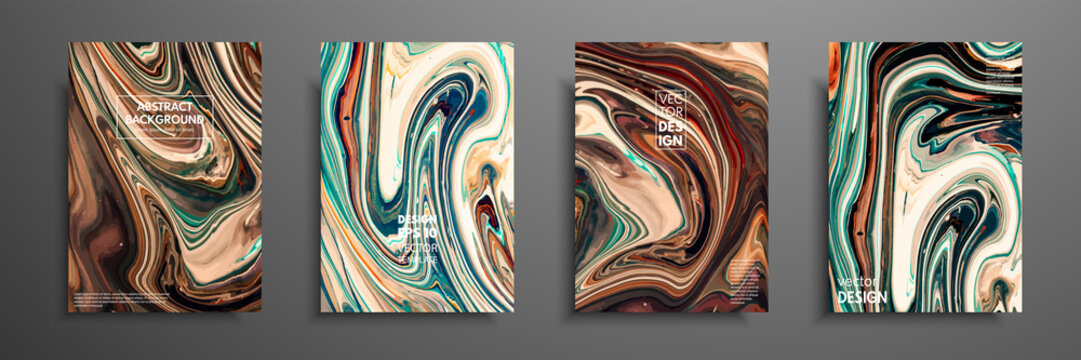 Flyer layout template with mixture of acrylic paints. Liquid marble texture. Fluid art. Applicable for design cover, flyer, poster, placard. Mixed green, brown and yellow paints