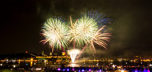 Bright fireworks over the Saint-Lawrence River near Quebec City during a Canadian summer festival.