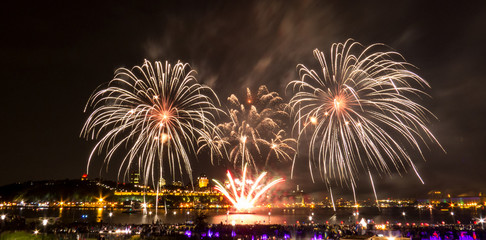 White/Golden fireworks over the Saint-Lawrence River near Quebec City during a Canadian summer festival.