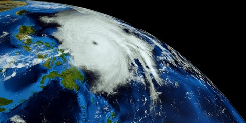 Extremely detailed and realistic high resolution 3d illustration of Typhoon Mangkhut approaching the Philippines. Shot from Space. Elements of this image are furnished by Nasa.