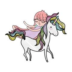scribbled cute sweet unicorn with girl sleeping
