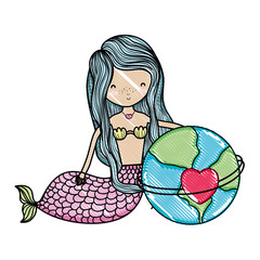 scribbled siren woman and global planet with heart