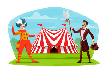 Circus clown and illusionist vector cartoon poster