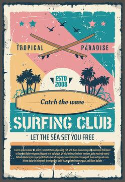 Surfing club paradise adventure retro poster