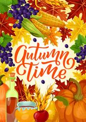 Autumn time harvest fest vector poster