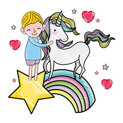 scribbled boy and unicorn in the rainbow with star and hearts