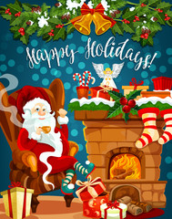 Santa, Christmas fireplace with gift greeting card