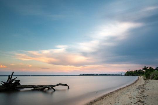 Sunset along the James River in Williamsburg Virginia near Jamestown