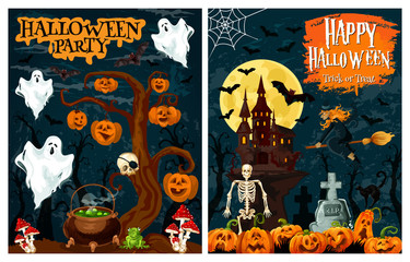 Halloween party banner of ghost house and pumpkin