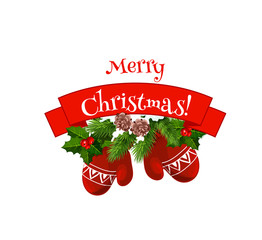 Merry Christmas mittens on wreath vector icon