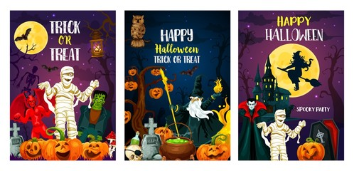 Vector Halloween trcik or treat party posters