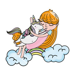 scribbled nice girl hugging unicorn in the clouds