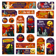 Halloween holiday pumpkin monster tag and label