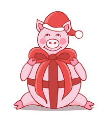 Hand drawn pig cartoon character in Santa's hat and with bow. Christmas vector illustration. Chinese symbol of the 2019 year.