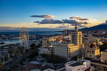 Malaga Spain Sunset Coastline