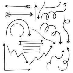 Set of Various Hand Drawn Arrow Vector Elements