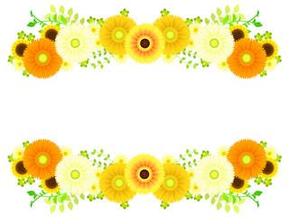 黄色いガーベラとスプレーマムのフレーム