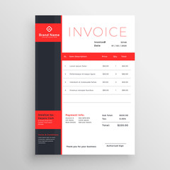 abstract red theme business invoice template design