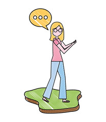 young woman using smartphone speech bubble chatting