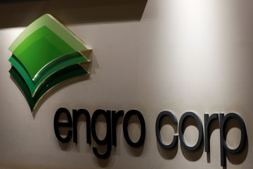 The logo of Engro Corporation is seen at office in Karachi