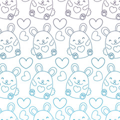 degraded outline cute female mouse and heart background